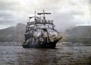 Our sailing ship, off the coast of South Africa
